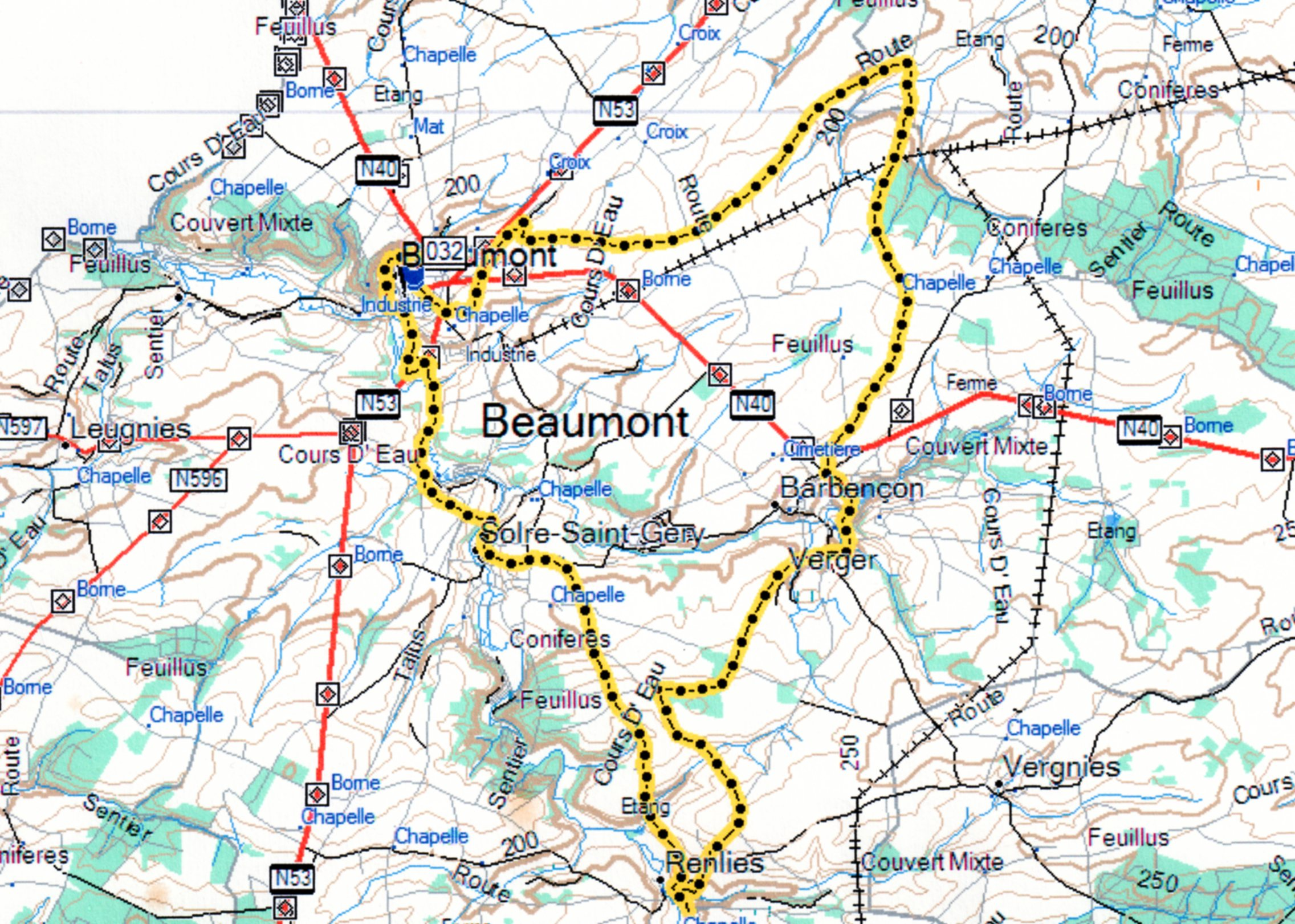 Carte Beaumont-Renlies-Barbençon-Beaumont